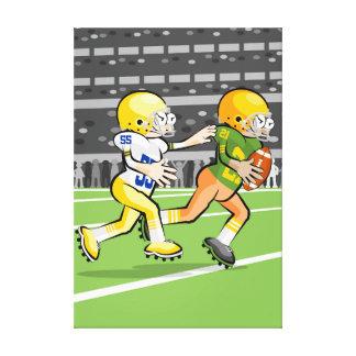 Toile Football américain joueurs en courant par la balle