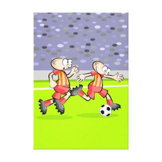 Toile Football deux joueurs protègent la balle
