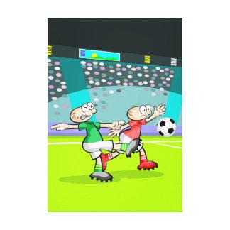 Toile Football enfant en repoussant la balle à l'arc