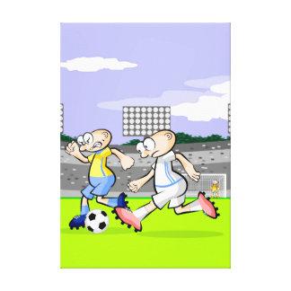 Toile Football intrépide joueur en courant avec la balle