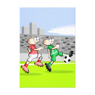Toile Football joueur en courant et en dominant la balle