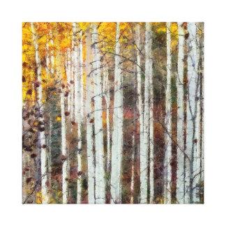 Toile Forêt brumeuse de bouleau