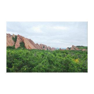 Toile Formes de région boisée et de roche de vallée de