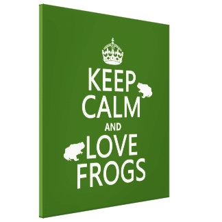 Toile Gardez le calme et aimez les grenouilles (toute