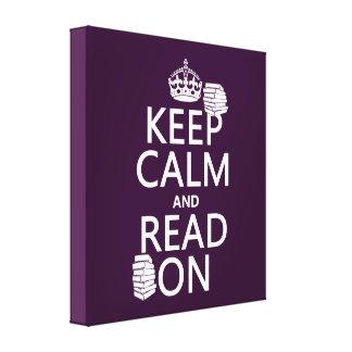 Toile Gardez le calme et lisez sur (dans toute couleur)
