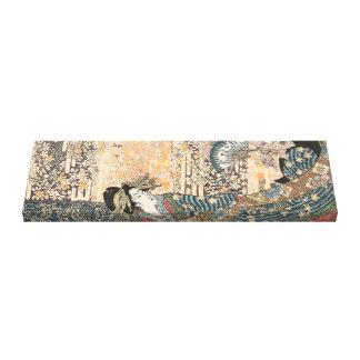 Toile Geisha dans le kimono débordant sur la tapisserie