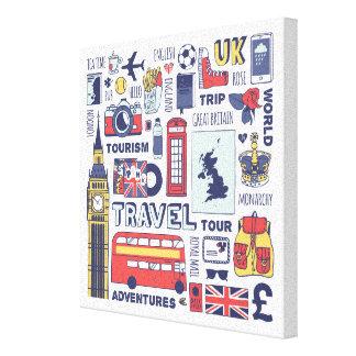 Toile Griffonnages de voyage de l'Angleterre
