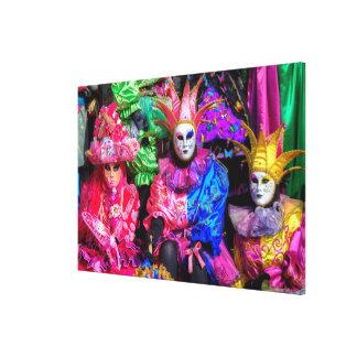 Toile Groupe dans le costume de carnaval, Venise