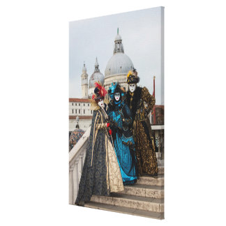 Toile Groupe sur le pont au carnaval, Venise
