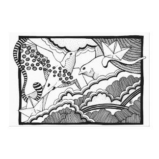 Toile Hirondelles dans le dessin de lineart de nuages