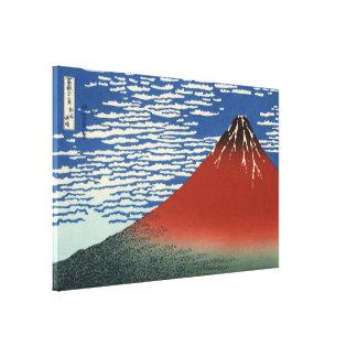 Toile Hokusai Fuji rouge, vent du sud, ciel clair