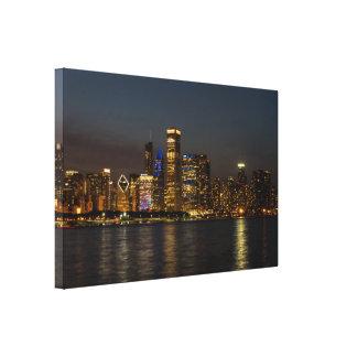 Toile Horizon Chicago Pano de nuit