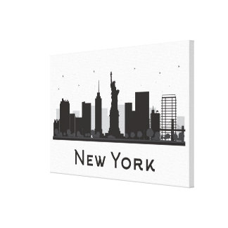 Toile Horizon de New York City | noir et blanc