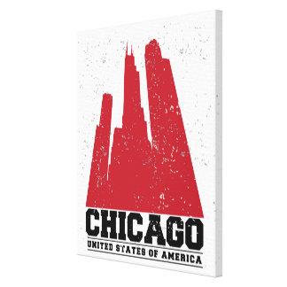 Toile Horizon rouge de ville de Chicago, l'Illinois |