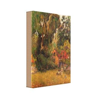 Toile Huttes sous les arbres par Paul Gauguin