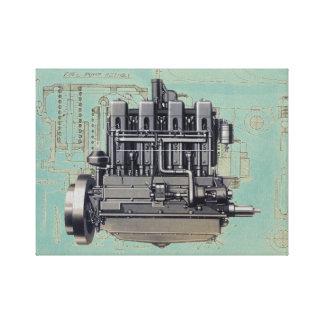 Toile Illustration tôt de dessin mécanique de moteur