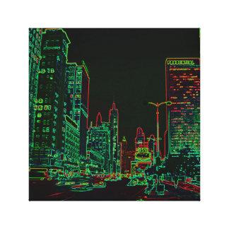 Toile Image au néon de nuit de lueur de l'avenue 1967 de