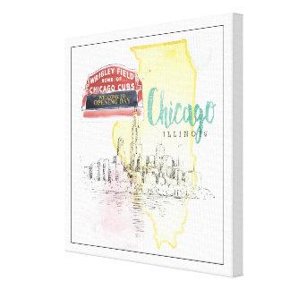 Toile Image de croquis d'aquarelle de Chicago,