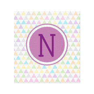 Toile Initiale en pastel de coutume de triangles de bébé