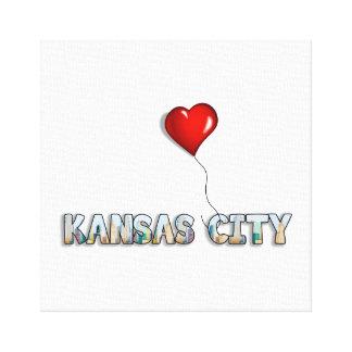 Toile J'aime Kansas City avec l'horizon de kc à