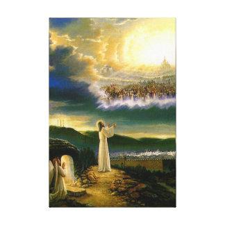 Toile Jésus à la porte du ciel avec un arrière - plan