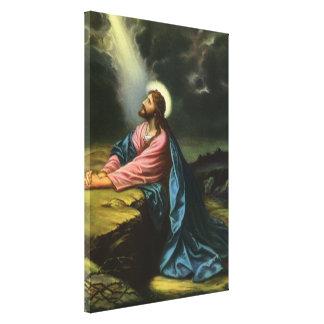 Toile Jésus-Christ vintage priant dans Gethsemane