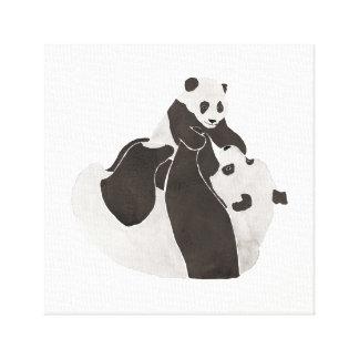 Toile Jeu de panda de mère et de bébé
