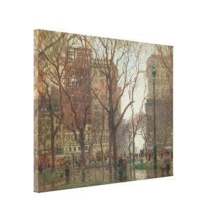 Toile Jour pluvieux, carré de Madison, New York, Paul