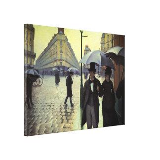 Toile Jour pluvieux de rue de Paris par Gustave