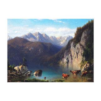 Toile Karl Millner l'Alpsee avec des bétail