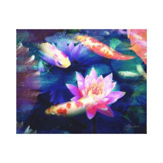 Toile Koi dans l'étang de lotus