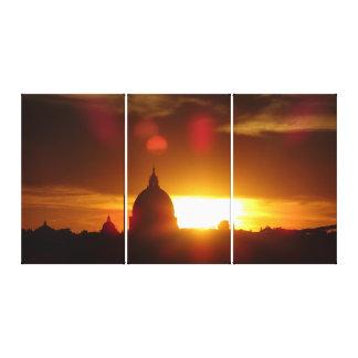 Toile La basilique de St Peter à Rome au coucher du