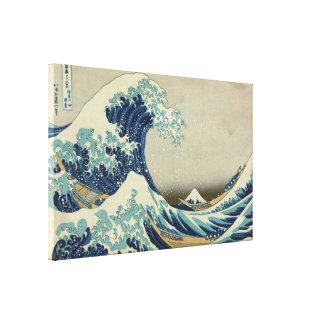 Toile La grande vague par Hokusai, art vintage de bloc