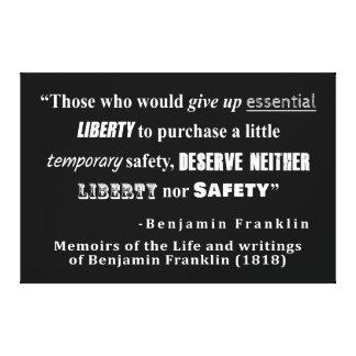 Toile La liberté et la sécurité Benjamin Franklin citent