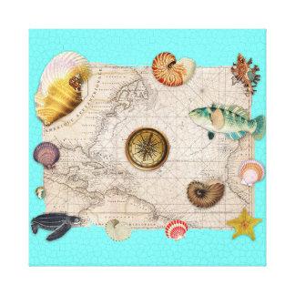 Toile La marine prise la carte vintage beige Teal