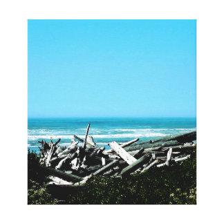 Toile La scène d'océan de bois de flottage a étiré la