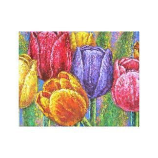Toile La tulipe florale a étiré l'art de mur