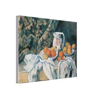 Toile La vie toujours avec un rideau par Paul Cezanne