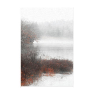 Toile Lac brumeux un jour d'hiver