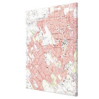 Toile Lafayette Louisiane Map (1983)
