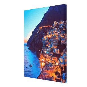 Toile ldp POSITANO Côte Amalfi - coucher de soleil à l