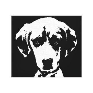 Toile Le beagle noir et le blanc ont enveloppé l'art de