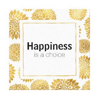 Toile Le bonheur chic de fleurs d'or est un choix