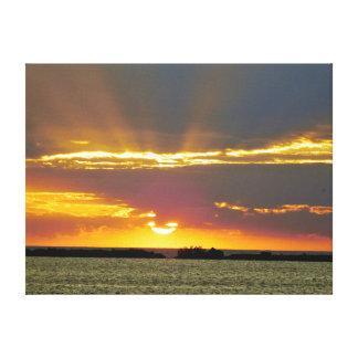 Toile Le coucher du soleil serein a enveloppé la copie