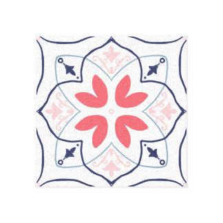 Toile le Main-dessin couvre de tuiles le rose et la