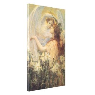 Toile Le message victorien vintage de l'ange d'art par