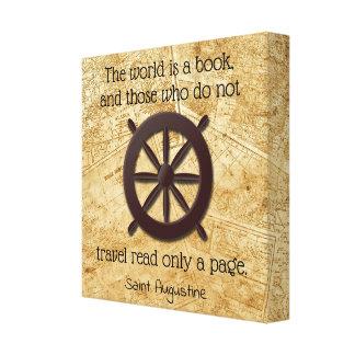 Toile Le monde est un livre * citation de St Augustine