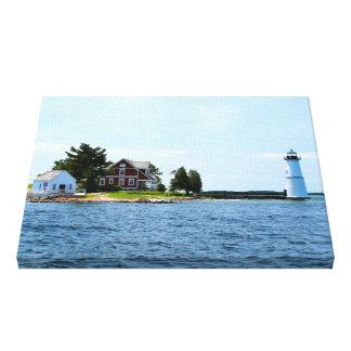 Toile Le phare d'île de roche, New York a enveloppé la