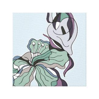 Toile Le résumé audacieux raye l'art floral de mur