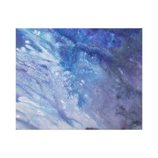 Toile L'eau blanche bleue triste de vague de peinture